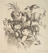 Three Children Among Clouds Near a Palm Leaf