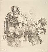 Three Children Among Clouds Carrying a Drapery
