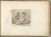 A Baby in 16th century Dress with a Rooster and a Dog (in Sketch Book With Drawings on Twenty-six Leaves)