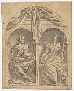 Two Wings of an Altarpiece depicting Saints John the Baptist and Catherine in Niches Surmounted by Angels