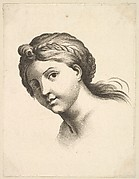 Head of a Woman, from Livre de Têtes Gravées d'apres F. Boucher et Autres (Book of Heads Engraved after F. Boucher and Others)