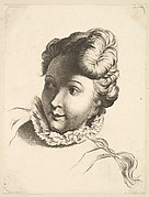 Head of a Woman Wearing a Ruff, from Livre de Têtes Gravées d'apres F. Boucher et Autres (Book of Heads Engraved after F. Boucher and Others)