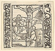 Crucifixion by a table, illustration from Speculum Passionis, 1507