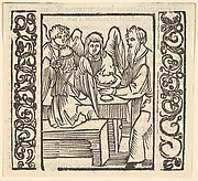 Angels Served at a Table, illustration from Speculum Passionis, 1507