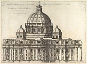Speculum Romanae Magnificentiae: Elevation Showing the Exterior of Saint Peter's Basilica from the South as Conceived by Michelagelo (Published in 1569).