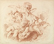 L'Air (The Air): A Group of Three Putti on Clouds