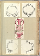 Designs for Four Mirrors and a Two Handled Vase