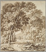 A Path Bordered by Trees with two Beggars and a Couple Strolling