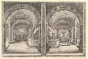Two views of a grotto, both views with a fountain with a seated statue, seen from the left and right sides, from 'Views of the villa at Pratolino' (Vues de la villa de Pratolino)