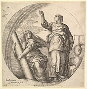Fortitude and Justice, an allegorical composition in round format, with Fortitude grasping a stone column and Justice pointing upward, a set of scale rests on a rock at right