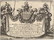 Title page from 'The magnificent pageant on the Arno in Florence for the marriage of the Grand Duke' (Le Magnifique carousel fait sur le fleuve de l'Arne a Florence, pour le mariage du Grand Duc); two figures holding a curtain inscribed with title and other details