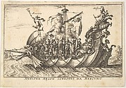 Plate 2: The Argonaut Amphion led by Mercury (Anfione Argon. condotto da Mercurio), with a fantastic beast head at the prow and Amphion seated at the stern, from the series 'The magnificent pageant on the river Arno in Florence for the marriage of the Grand Duke' (Le Magnifique carousel fait sur le fleuve de l'Arne a Florence, pour le mariage du Grand Duc), for the wedding celebration of Cosimo de' Medici in Florence, 1608
