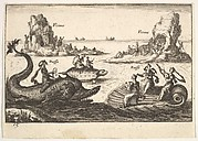 Plate 15: Rivers and goddesses, with floating islands guided by pole bearers, female figures seated on a dolphin and a tortoise, and three female musicians seated on a floating scallop shell , from the series 'The magnificent pageant on the river Arno in Florence for the marriage of the Grand Duke' (Le Magnifique carousel fait sur le fleuve de l'Arne a Florence, pour le mariage du Grand Duc), for the wedding celebration of Cosimo de' Medici in Florence, 1608