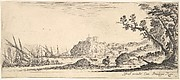 Plate 7: various boats on shore to left, a man carrying a bag, seen from behind and walking towards the background, a fortress in center background, a tree to the right, from 'Various landscapes' (Divers paysages)