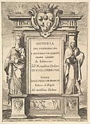 Frontispiece: a monument decorated with the Medici coat of arms at top in center, flames at top to either side, a hooded figure on right side of monument with a weasel below, a figure to left side wearing a papal crown, a scene of a monk chasing away demons with a cross on base of monument, from 'Frontispiece and four scenes from the life of Saint John Gualbert' (Frontispice et quatre vignettes pour une vie de Saint Jean Gualbert)