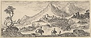 Two horseman descend a hill in center, following another man on foot, a castle in the mountains in the center background, from 'Various landscapes' (Divers paysages)