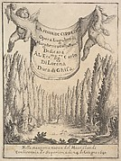 Frontispiece for 'The Cypress Forest' (La selva di cipressi): two putti hold a tapestry in center, a forest of cypress trees and statues below, a skull and bones on the ground
