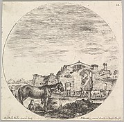 Plate 12: a shepherd sleeping on the ground to right, three horses to left, other horses and various figures to right, the Baths of Diocletian in the background, a round composition, from 'Roman landscapes and ruins' (Paysages et ruines de Rome)