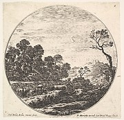 Plate 6: cows crossing a valley to left, a group of trees to left, a horseman and other cows in the background, a round composition, from 'Roman landscapes and ruins' (Paysages et ruines de Rome)