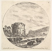 Plate 13: ruins of an ancient temple in the background, a herd of cows in the foreground, a round composition, from 'Roman landscapes and ruins' (Paysages et ruines de Rome)