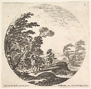 Plate 3: a gale in the forest, two horsemen wrapped in their cloaks, the wind is blowing from the left side, a round composition, from 'Roman landscapes and ruins' (Paysages et ruines de Rome)