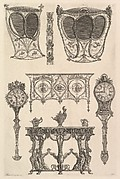 A sedan chair, a coach, a commode, a side table and two clocks (Deux ch. à porteurs v. de côté, une commode, une console, deux pedules, un meuble indét), from Diverse Maniere d'adornare i cammini ed ogni altra parte degli edifizi...(Different Ways of ornamenting chimneypieces and all other parts of houses)