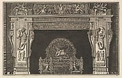 Chimneypiece: Frieze of trophies and winged Victories on the lintel, with cornucopias to either side of the jambs decorated with varied reliefs (Ch. décorée d'une grecque), from Diverse Maniere d'adornare i cammini ed ogni altra parte degli edifizi...(Different Ways of ornamenting chimneypieces and all other parts of houses)