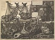 Various Lamps and a vase encusted with cameos, from Vasi, candelabri, cippi, sarcofagi, tripodi, lucerne, ed ornamenti antichi disegnati ed incisi dal Cav. Gio. Batt. Piranesi (Vases, candelabra, grave stones, sarcophagi, tripods, lamps and ornaments designed and etched by Cavaliere Giovanni Battista Piranesi)