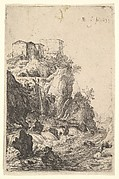Cascades near Ponte della Trave, with buildings on a rocky outcrop above, from the series 'The Ruins of Rome'