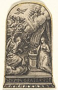 Annunciation, Mary kneels at a lectern as Gabriel approaches on a cloud from the left, with the dove of the Holy Spirit above, trimmed from an engraving showing decorations for thimbles