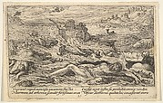 The Flood destroys life on earth: corpses of humans and animals adrift in the foreground, Noah's ark beyond and a flying dove holding a branch above, from a series of engravings made for the first edition of the 'Liber Genesis'