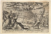 Destruction of the Tower of Babel: at right men and women flee from the burning tower, at left men and women raise their hands toward two flying angels, from a series of engravings made for the first edition of the 'Liber Genesis'