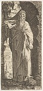 St. Paul standing under an overgrown arch, his left foot poised upon a rock, his right hand grasping a scroll, from a series of full-length figures of Christ and the Twelve Apostles