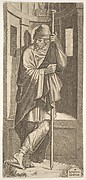 St. James Major leaning on a pole before a niche, his left leg crossed over his right, from a series of full-length figures of Christ and the Twelve Apostles