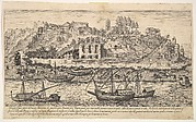 Plate 21: view from the west of ruins of the Aventine Hill, Rome, with boats on the river Tiber in the foreground, from the series 'Ruins of the antiquity of Rome, Tivoli, Pozzuoli, and other places' (Vestigi della antichità di Roma, Tivoli, Pozzvolo et altri luochi)