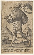Halberdier walking left and carrying a halberd over his left shoulder, two tents beyond, from the series 'Twelve soldiers of different ranks'