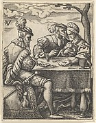 Two men and a woman playing cards at a table, one man pressing his nose toward the woman's forehead, from a series of ten scenes of musicians and couples dancing, drinking, playing music, and playing cards
