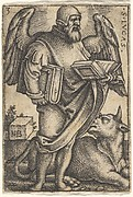 Plate 3: Saint Luke with his head turned in profile to the right, a book in each hand, a bull at his feet, from 'The four evangelists'