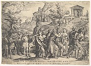 Triumph of Love: four horses draw a carriage with Cupid standing upon a smoking platform, preceded by gods and goddesses on foot, a temple with gabled pediment at crest of hill beyond, from the series 'The Triumphs of Petrarch'