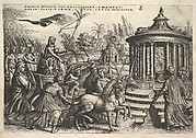 Triumph of Chastity: unicorns draw a carriage bearing a female figure seated next to a sphinx and holding a standard, Vestal virgins walk behind the carriage, round temple of Vesta at right, from the series 'The Triumphs of Petrarch'