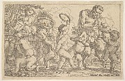 Satyr playing a pipe beside a putti holding a mask, surrounded by putti climbing over a low wall and dancing with musical instruments