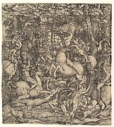 Battle between cavalry and infantry in a wood