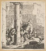 Blind Beggar Bumping A Pillar