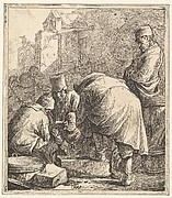 Man Adjusting His Footwear, at Left Three Men Playing Cards