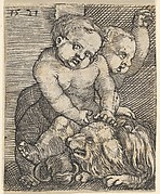 Two Boys Playing with a Dog