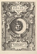 Bust of Sol surrounded by strapwork, from the series 'Deorum dearumque,' a set of images of deities after coins in the collection of Abraham Ortelius