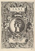 Bust of Janus surrounded by strapwork, from the series 'Deorum dearumque,' a set of images of deities after coins in the collection of Abraham Ortelius