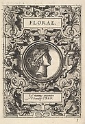 Bust of Florae surrounded by strapwork, from the series 'Deorum dearumque,' a set of images of deities after coins in the collection of Abraham Ortelius
