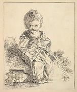Un enfant assis sur une motte de terre (An enfant seated on a clod of earth), after Le Petit Savoyard by François Boucher, from Suite d'estampes gravées par madame la marquise de Pompadour d'après les pierres gravées de Guay, graveur du Roi