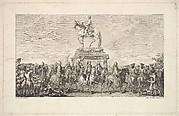 The Inauguration of the Statue of Louis XV, Vignette on page 1, from Description des Travaux qui ont précédé. accompagné et suivi la fonte en bronze d'un seul jet de la Statue Equèstre de Louis XV le bien-aimé dressée sur les mémoires de M. Lempereur ancien Echevin.  Par M. Mariette, Honoraire amateur de l'Académie Royale de Peinture et Sculpture, A Paris de l'Imprimerie de P.G. Le Mercier